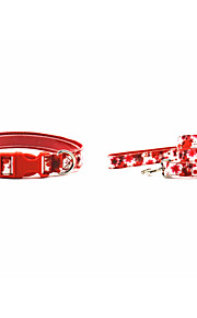 PU- Red Flower Style Dog Collar And Leash Suit (Assorted Sizes)