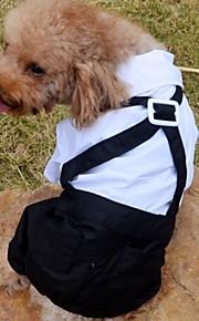 Camiseta/Calças - Preto/Branco - de Algodão - Casamento/Fantasias - para Cães/Gatos