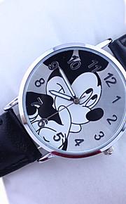 padrão Disney Mickey pu banda relógio de pulso analógico bonito dos desenhos animados para crianças