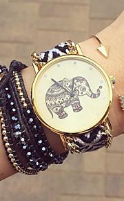 Mulheres Relógio de Moda Bracele Relógio Quartzo Tecido Banda Flor Boêmio Preta