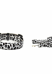 PU White Leopard Grain Dog Collar And Leash Suit (Assorted Sizes)
