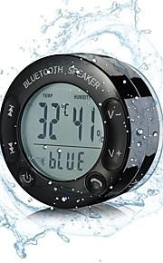 ipx67 trådløs bluetooth vanntett dusj høyttaler, med sug og stor lcd-skjerm for temperatur og fuktighet