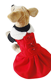 Red Cotton/Fleece Ladies Temperament T-shirt Wool Skirt Dresses For Dogs/Pets