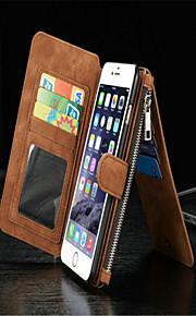 kortholderen med lynlås split sutte klistermærker pu materiale tegnebog læderetui til iPhone 6 plus / 6s plus (assorterede farver)