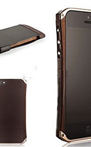 natrual mooden kofanger ramme sag pu læder bagsiden tilfældet for iPhone 5 / 5s