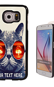 Personalized Case - Cat with Glasses Design Metal Case for Samsung Galaxy S6/ S6 edge/ note 5/ A8 and others