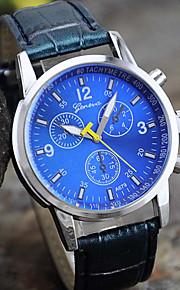 relógio de forma lazer couro quartzo simples dos homens (cores sortidas)