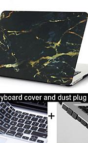 """3 1 검은 대리석 질감의 케이스 커버 + 키보드 커버 + 맥북에 대한 먼지 플러그 13.3 프로 """"/15.4"""""""
