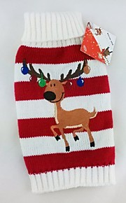 FUN OF PETS® Green/Red Stripe Design Winter Christmas Reindeer Pattern Sweater Dogs Clothing for Puppy Pets Dogs