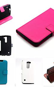 de cuero de la PU de los casos la tarjeta de color sólido cartera ranura con soporte casos cuerpo completo para el espíritu lg (color