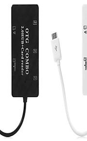2 in 1 mciro USB OTG-Combo 3-Port USB 2.0 Hub / Kartenleser mit TF-SD-Kartenslot
