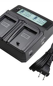 lvsun® camcorder dubbele lader met LCD-scherm snel opladen voor Sony FW50