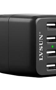 lvsun® 4-poorts usb reizen lader AC-adapter voor iphone6s / samsung s6 en anderen (eu stekker)