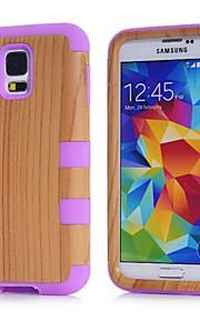 motifs de grain de bois de haute qualité logiciel enfichable sur pc + silicone hybride combo armure Housse pour S6 galaxie bord / S6 / S5