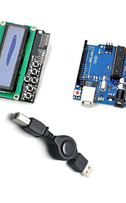 UNO R3 + LCD 1602 Keypad Shield V2.0 LCD1602 Expansion Board Building Blocks - Deep Blue