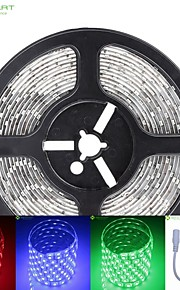 5m 75W 300x5050 SMD LED DC12V IP68 vanntett stripe lys + 10key fjernkontroll rgb