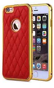 hzbyc® nye lammeskinn luksus skinn linjer ekte lær metall tpu integrert ramme sak for Apple iPhone 6plus / 6s pluss