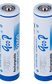 lir-18650 3.7V 2800 mah li-ion şarj edilebilir pil (2 adet), beyaz&mavi