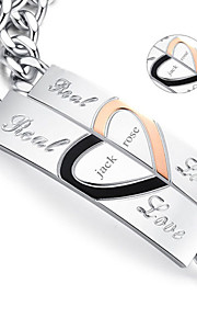 Valentine's Day Gifts Personalized Jewelry Lovers Titanium Steel Gold / Silver Bracelets(One Pair)