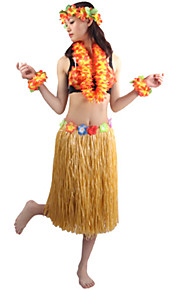 60cm Adults' Fire-Proof Double Layers Hawaiian Carnival Hula Dress Wristbands Necklace Bra and Headpiece