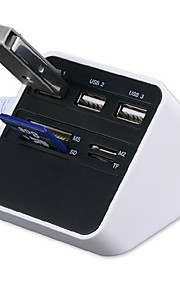 All-in-1 USB 2.0 Card Reader USB-Hub 3 * usb + ms / sd / m2 / tf Kartenleser 7 Slots USB-Combo - weiß
