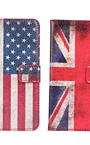 HTC 하나 M7에 대한 미국 또는 영국 국기 가죽 케이스 커버 지갑 카드 슬롯 케이스