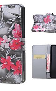 flores rojas en flor patrón de tirón de la carpeta de cuero del caso del soporte con la ranura para tarjeta para el lumia 650 Microsoft