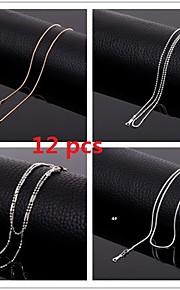 engros 17 tommer (43cm) 2mm bredde titanium stål kæder halskæde, sæt med 12