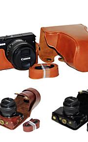 dengpin pu læder kamerataske taske dække med skulderrem til Canon EOS M10 15-45 linse (assorterede farver)