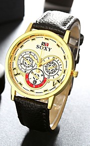 Stainless Steel Quartz Watch Men Leather Fashion Business