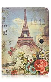 universales del cuero del patrón de la torre Eiffel PC de la tableta de 7 pulgadas el caso elegante magnético anti-polvo