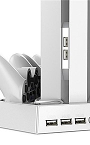 Dual Controller USB Charging Dock Base with 2 Cooling Fan and 3 USB HUB for Sony PS4 White