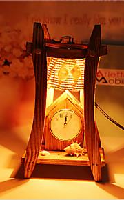 creatieve hout de piramide met klok container decoratie bureaulamp slaapkamer lamp cadeau voor kind