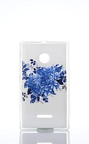 Modelo azul del crisantemo TPU + IMD caso suave para el Nokia Lumia N640 / n535 / N435