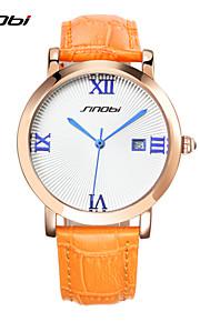 Mulheres Relógio Elegante Quartz Calendário / Cronógrafo / Impermeável Couro Banda Relógio de Pulso Laranja