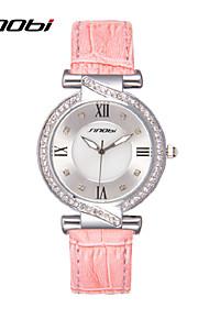 Mulheres Relógio de Moda Quartz Impermeável Couro Banda Relógio de Pulso Rosa