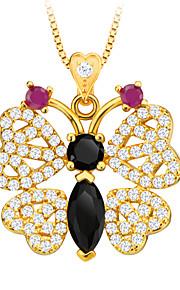 zirconia dyr smykker sommerfugl vedhæng halskæde 18K forgyldt luksus østrigske krystal smykker kvinderne gave p30109