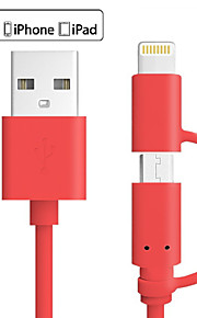 Colour MFI 2 in 1 Micro USB Data Cable Charge Cable for iPhone 7 6s Plus SE 5s iPad 4 mini Android Smart Phone