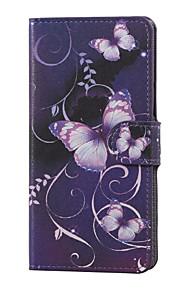 mariposa púrpura magnética de la PU de la carpeta de cuero del soporte del tirón la cubierta del caso para lg x220 K5