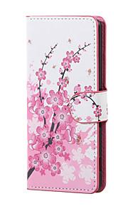 nueva flor del ciruelo magnética de la PU de la carpeta de cuero del soporte del tirón de la cubierta del caso Lenny wiko 3