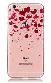 투명 색 하트 모양의 꽃잎 패턴이 아이폰에 대한 소프트 케이스 전화 케이스 TPU 6/6 플러스 / 기가 / 기가 플러스