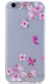 TPU lyser i mörkret genomskinliga Peach Blossom lättnad mjukt skydd ringer fallet för iphone 6 / 6s / 6 plus / 6s plus