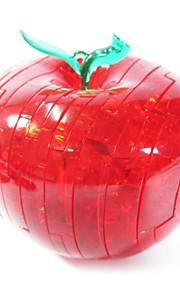 3d de cristal maçã DIY blocos de quebra-cabeça crianças brinquedos educativos criativos brinquedos pequenos ornamento sem luz