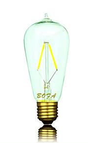 1 stk. NO B22 / E26 / E26/E27 2W 2 COB 100-200 lm Varm hvit / Kjølig hvit ST58 Dimbar / Dekorativ LED-globepærer AC 220-240 / AC 110-130 V