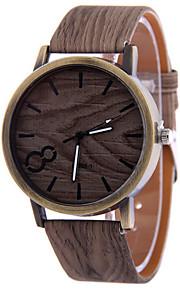 Men's Gray Case Wood Shape PU Leather Band Analog Quartz Wrist Watch