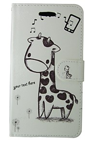 giraf pu læder flip cover med magnetisk snap og kort til Huawei Ascend P9 / P8 / P8 lite / P7 / ære 6 / G6 / Y550