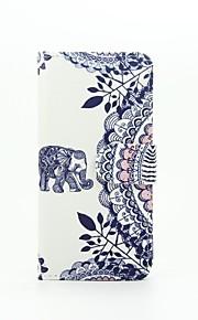 elefant mønster pu læderetui med kort slot og står for Samsung Galaxy A310 / A510