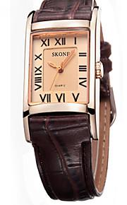 Skone montre femme forma simples casal relógios de negócios quadrado quartzo relógio de pulso ocasional montre homme
