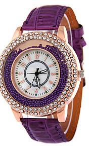 analógico pulseira de couro jóias relógio caso grânulos de quartzo de moda da senhora