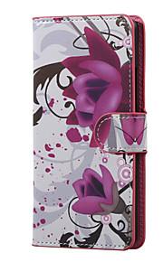 K5 X220을 LG 보라색 꽃 자기 PU 가죽 지갑 플립 스탠드 케이스 커버를